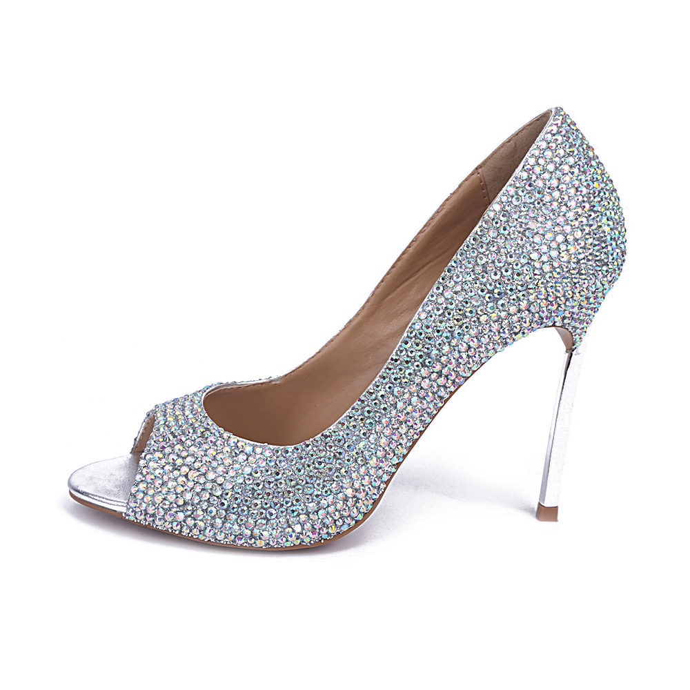 new fashion woman high heel shoes sexy open toe crystal wedding heels 2017 bling bling crystal embellished stiletto heels new 2018 new fashion sexy pointed toe thin heels shoes bling bling glitter embellished ankle starp high heel shoe 16cm pumps