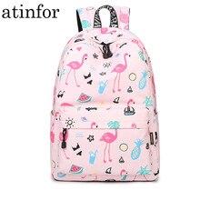 Waterproof Women Backpack Cute Bookbag Pink Flamingo Animal