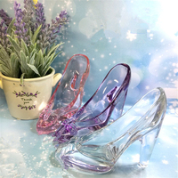 1pcs Lead Free Pink White Glass High Heel Shoes Home Decor Accessory Wedding Party Decor Cinderella