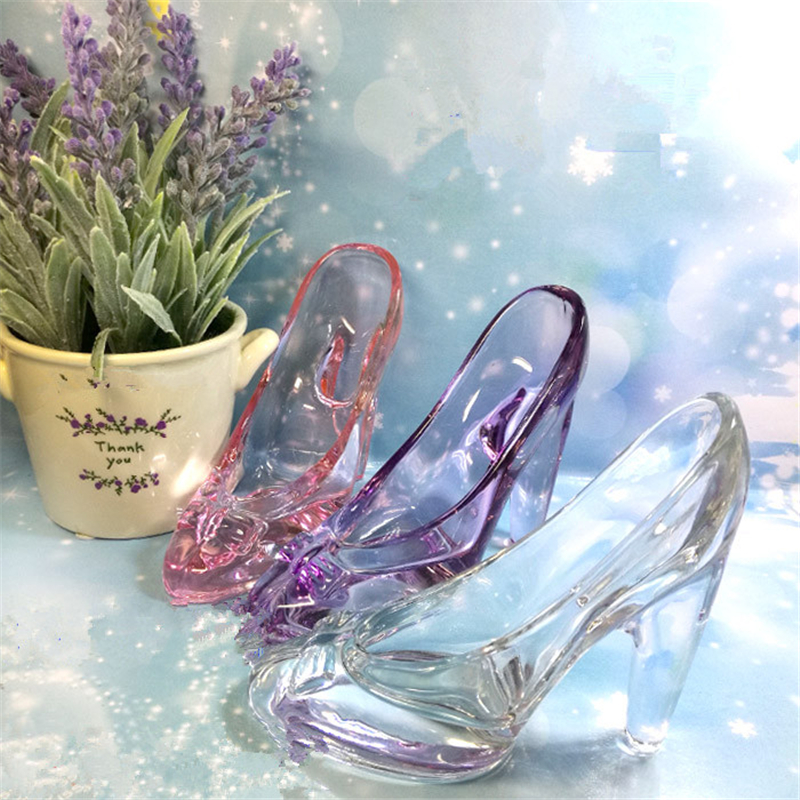 1pcs lead-free pink white glass high heel shoes home decor accessory wedding party decor cinderella glass crystal wedding gifts