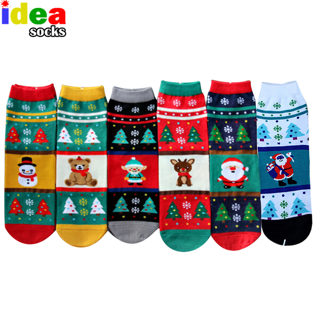 2017 new year women winter Christmas gift 3d cartoon socks warm soft cotton short sock snowflake deer santa claus female hosiery