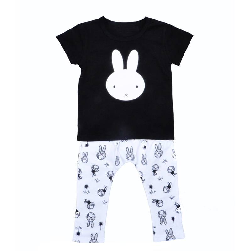 2017 Baby Girl Clothing Set Summer Style Bunny T Shirt+Rabbit Pants 2pcs Kids Boy Clothes Cartoon Animal Children Clothing Sets 2pcs children outfit clothes kids baby girl off shoulder cotton ruffled sleeve tops striped t shirt blue denim jeans sunsuit set