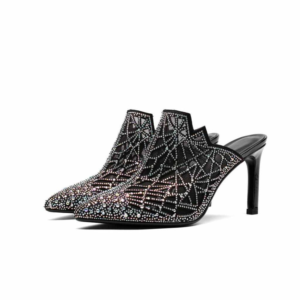Lenkisen slip on air mesh pointed toe colorful beading summer brand mules shoes high thin heels party elegant women sandals L20