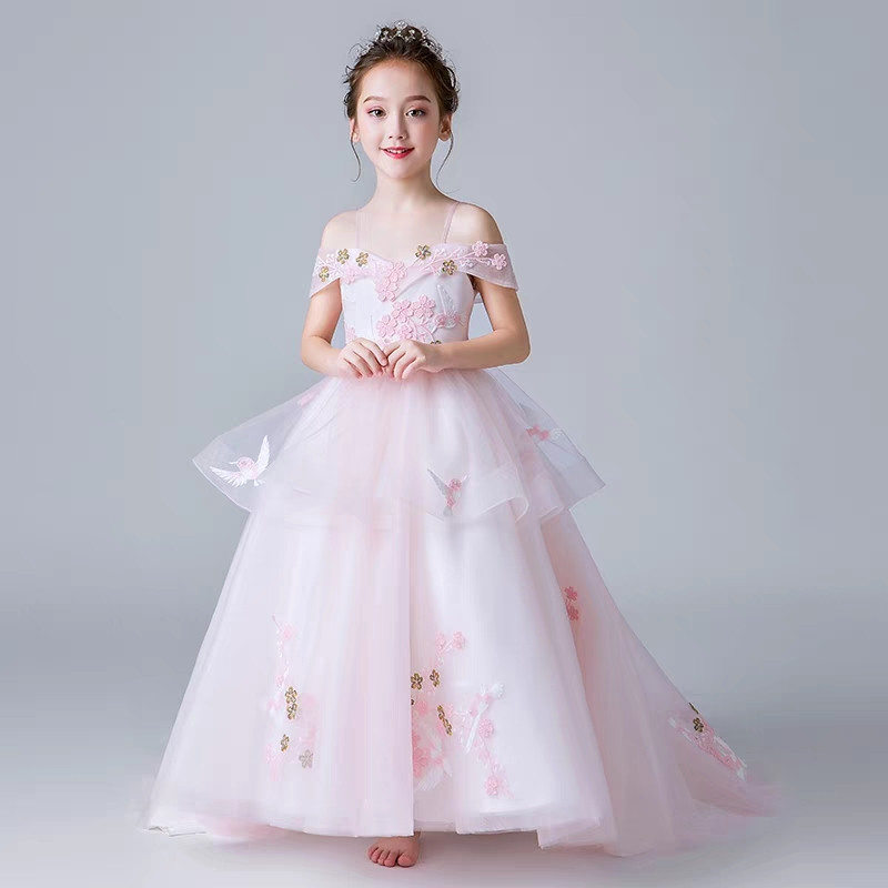 3~15Years Children Girls Luxury Shoulderless Collar Flowers Birthday Evening Party Long Tail Dress Model Catwalk Piano Dress3~15Years Children Girls Luxury Shoulderless Collar Flowers Birthday Evening Party Long Tail Dress Model Catwalk Piano Dress