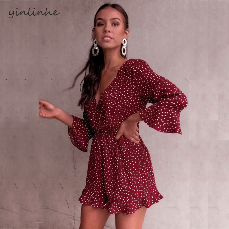 yinlinhe Red Polka Dot beach Summer overalls Women Playsuit Long Sleeve Lace Up V neck Sexy Short   Jumpsuit   Romper Backless 368