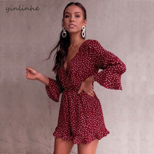 451d8bc9e0b yinlinhe Red Polka Dot beach Summer overalls Women Playsuit Long Sleeve  Lace Up V neck Sexy