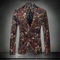 Homens de Cor Blazer 2016 Novo Luxo Chegada Blazer Masculino Dos Homens Blazer Slim Fit M-3XL Florla Desenhos Impressos de Veludo Blazer homens