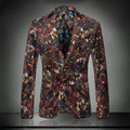 Men Colored Blazer 2016 New Arrival Luxury Blazer Masculino Men Florla Blazer Slim Fit M -3XL Designs Printed Velvet Blazer Men