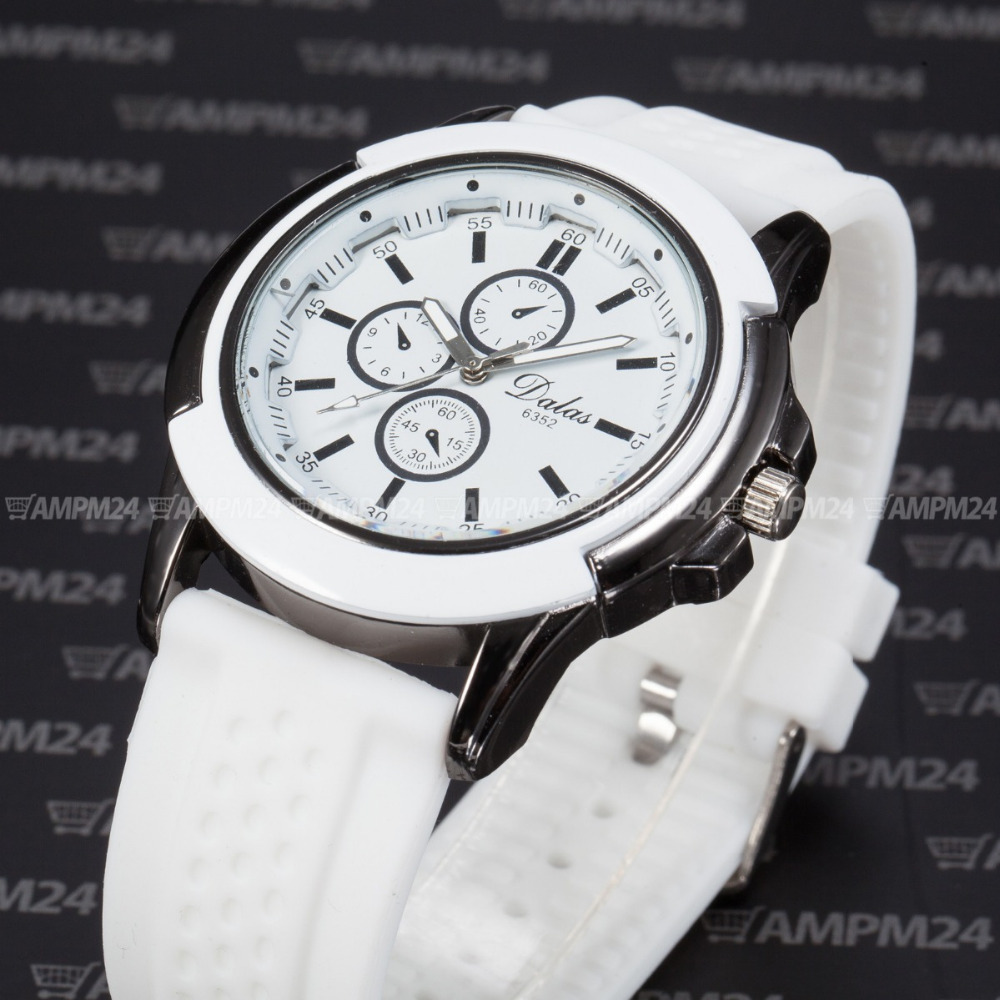 f84714b4623b Dalas Relogio blanco caja de acero inoxidable correa de silicona hombres  relojes de pulsera hombres reloj de cuarzo moda Casual Watch   WAA741 en  Relojes de ...