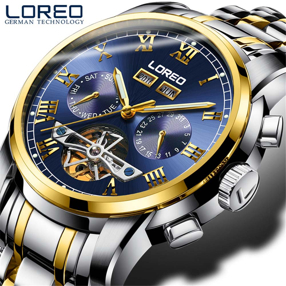 LOREO Full Calendar Tourbillon Mechanical Mens Watches Top Brand Luxury Sapphire Wrist Watch erkek kol saati Montre Homme 2018 forsining full calendar tourbillon auto mechanical mens watches top brand luxury wrist watch men erkek kol saati montre homme