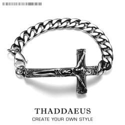 Cross Men Charm Bracelet With Lobster Clasp,Titanium Steel Link Chain Ancient Maya Trendy Gift