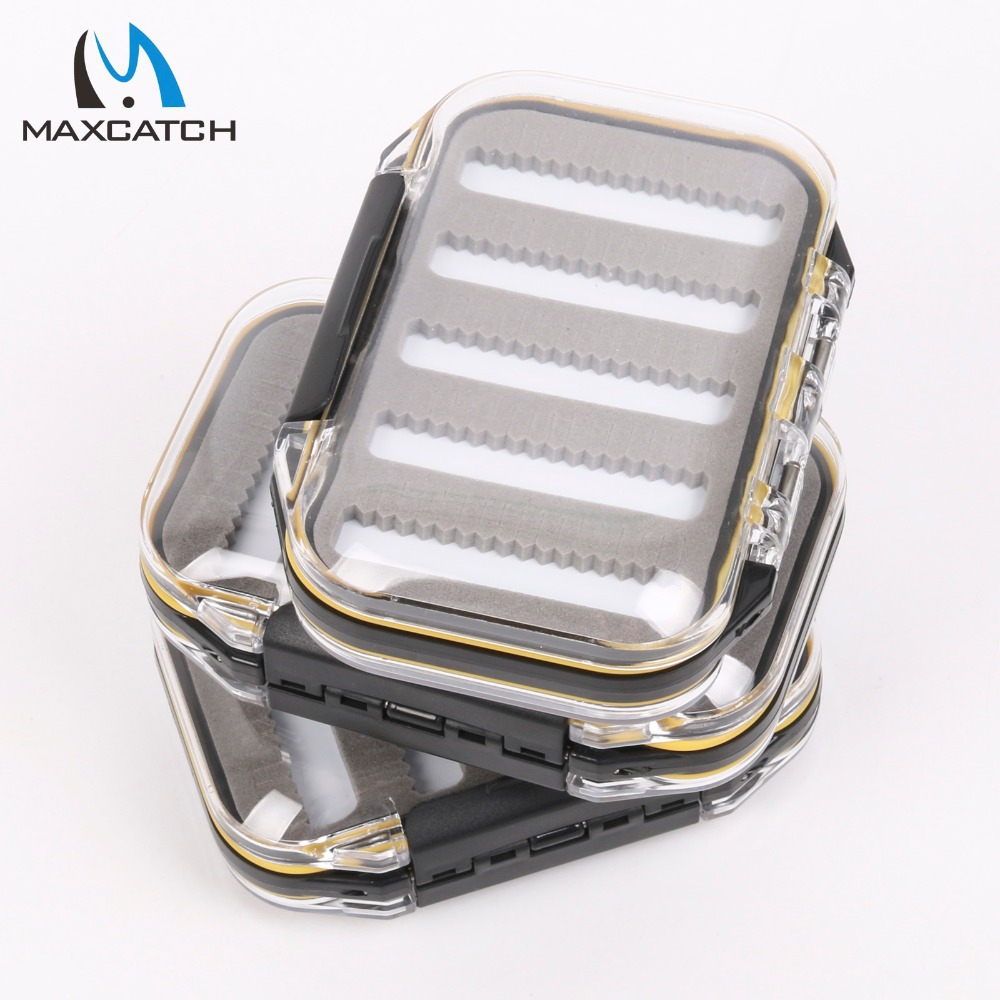 Maximumcatch 1-3 Pcs/lot Two-Sided Waterproof Waterproof Fly Fishing Box with Slit Foam Fish Lure Hook Bait Fly Box коробка для мушек snowbee easy vue waterproof fly box medium