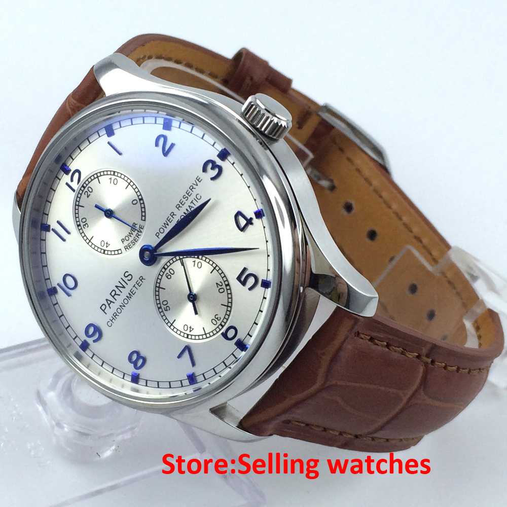 Parnis 43mm Silver Dial Power Reserve Chronometer Automatic Mens Watch casual 43mm parnis automatic power reserve white dial blue numbers silver watch case business watch men