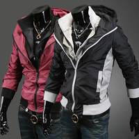 Free Shipping Ebay 2013 Hot Selling Male Jacket Double Layer Collar Stand Collar Slim British Style