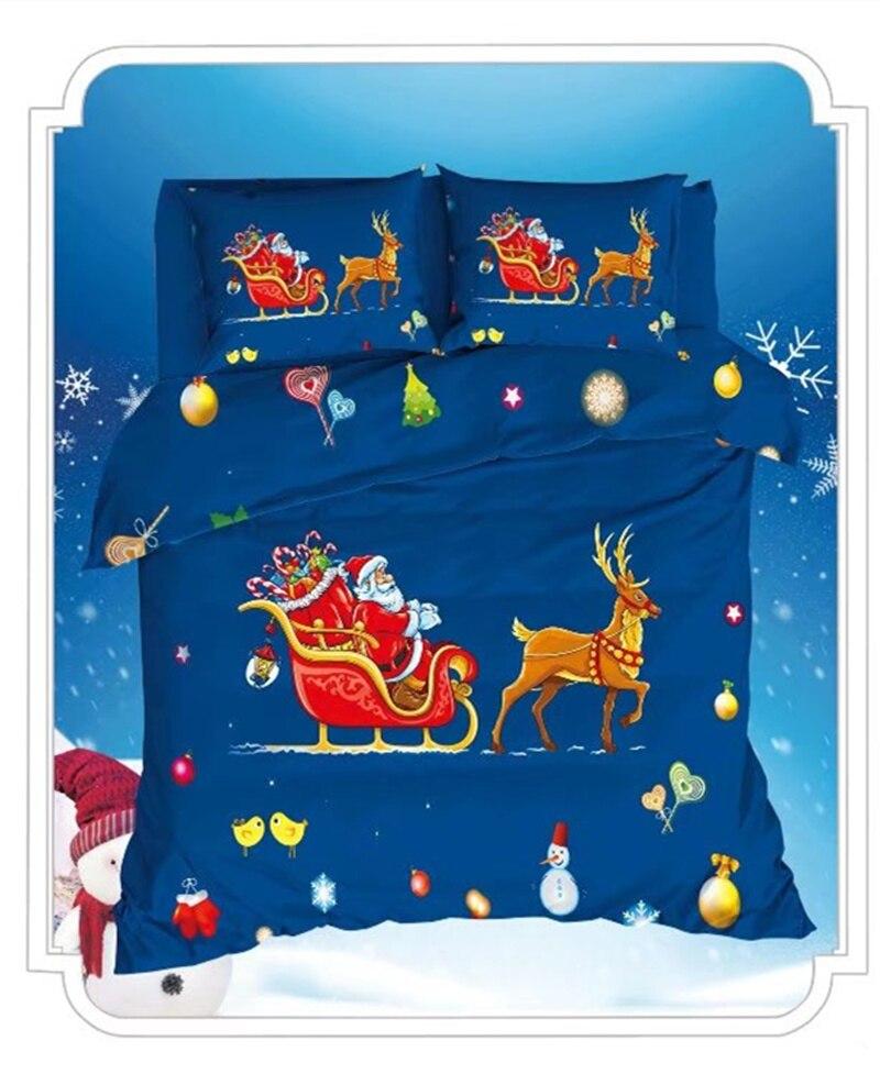 Рождественские комплекты постельного белья, 100% хлопок, Санта Клаус, 3D олень, одеяло, покрывало для девочек, детей, Твин, полный размер, королева, король, размер, постельное белье, Декор