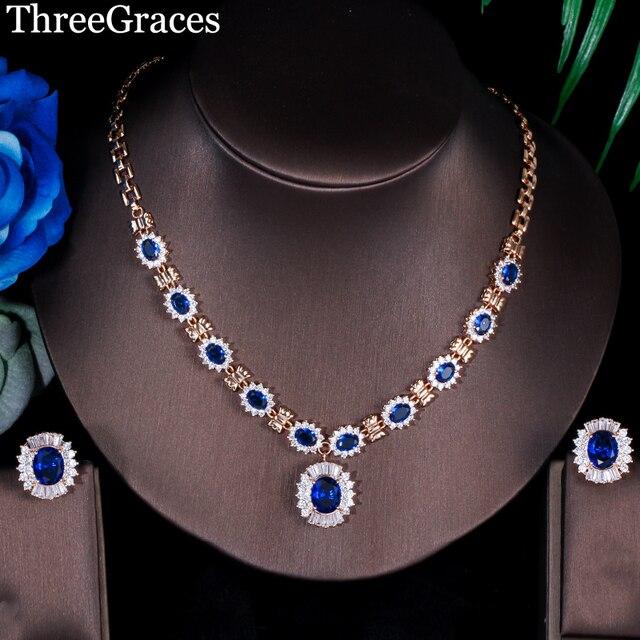 ThreeGraces Elegant American Women Royal Blue Cubic Zirconia Crystal Bridal Jewelry Necklace Earrings Set For Wedding JS186
