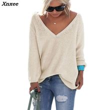 2018 Autumn Winter Full Sleeve  Knitted Sweater Women Sexy V-neck Loose Casual Female Pullover Solid Beige Gray Pink Xnxee