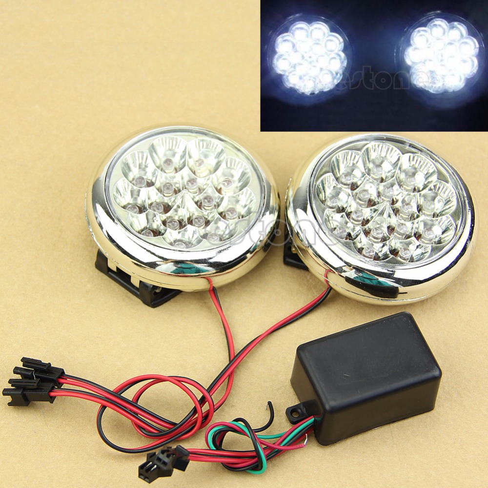 2x 15 12V Round Daytime Running LED Driving Lights DRL Front Fog Tail Work Lamp for opel astra h gtc 2005 15 h11 wiring harness sockets wire connector switch 2 fog lights drl front bumper 5d lens led lamp
