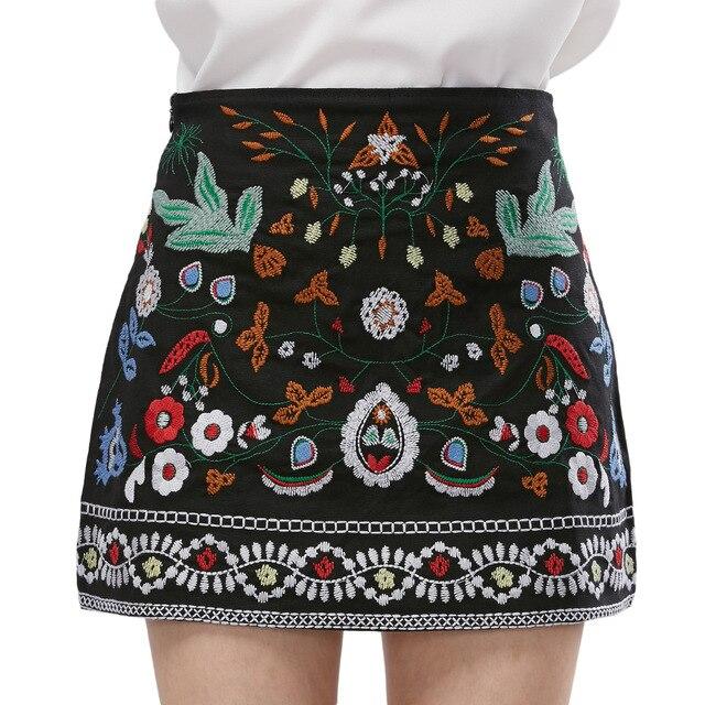 5b132a0ae Kenancy Woman Skirt Retro Bohemian Embroidery Black Floral Ethnic High  Waist Slim Women Skirt Vintage 90s Mini Skirt