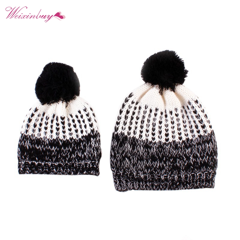 Mother and Baby Crochet Hats 2 Pcs Toddler Kids Boys Girls Knitted Beanie Children Adult Winter Warm Fur Pompon Caps