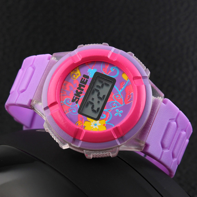 SKMEI Cool Originality LED Cute Watch Colorful Digital Children Wristwatch Time and Date Display Watches  for Chirldren