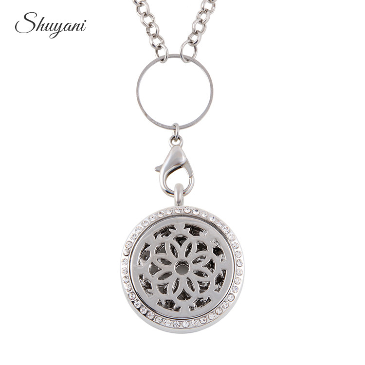 10PCS Fashion Alloy Hollow Flower Aromatherapy Locket Pendant Essential Oil Perfume Diffusing Magnetic Locket Necklace Free Pads locket