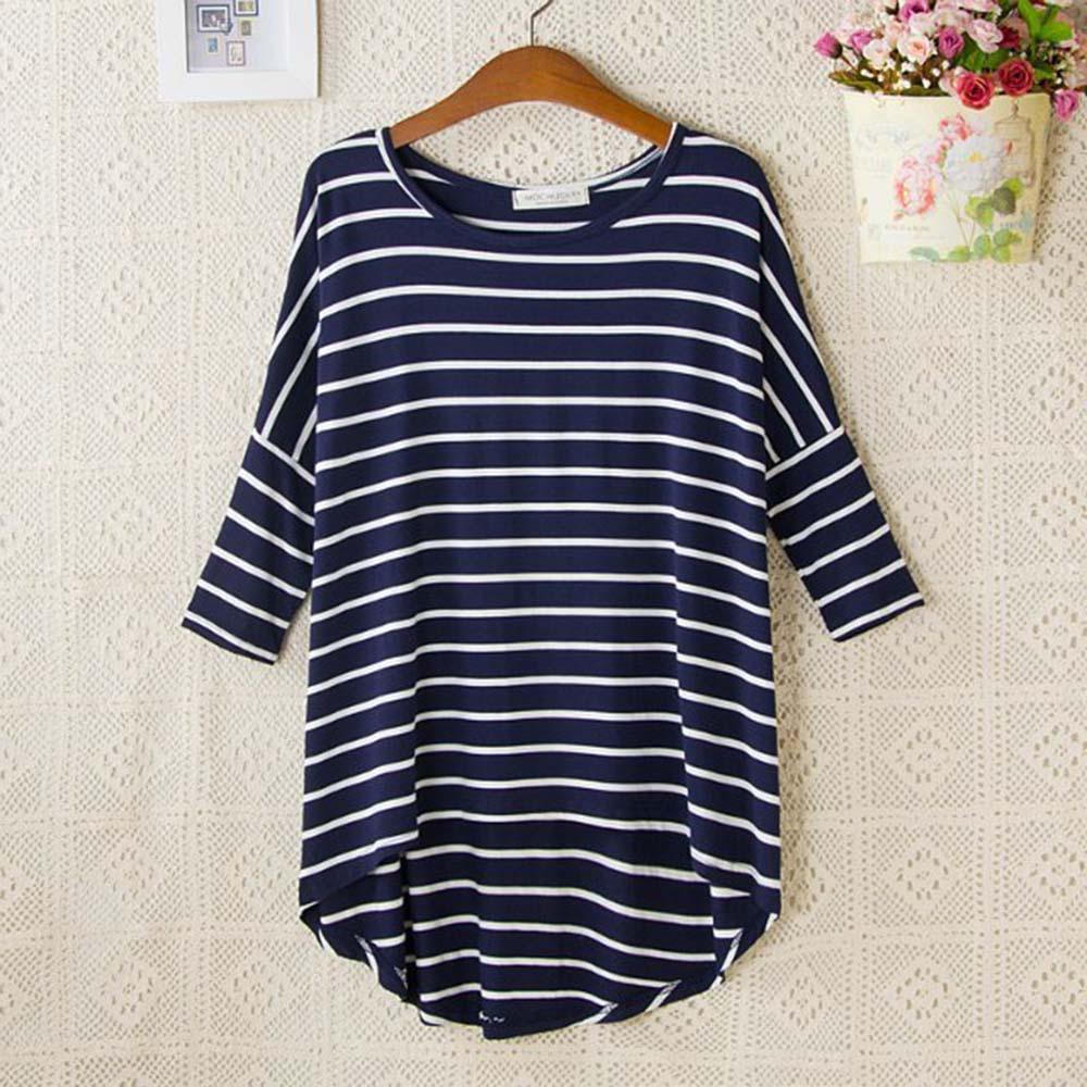 Striped Tshirt 3/4 Sleeve Tops Womens Clothing T-Shirts