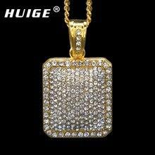 Мужские полный Iced Out Rhinestone цвета: золотистый, серебристый цвет площадь dog tag 5 мм * 30 »/3 мм * 24 «Кубинский цепи хип-хоп Blingbling ожерелье