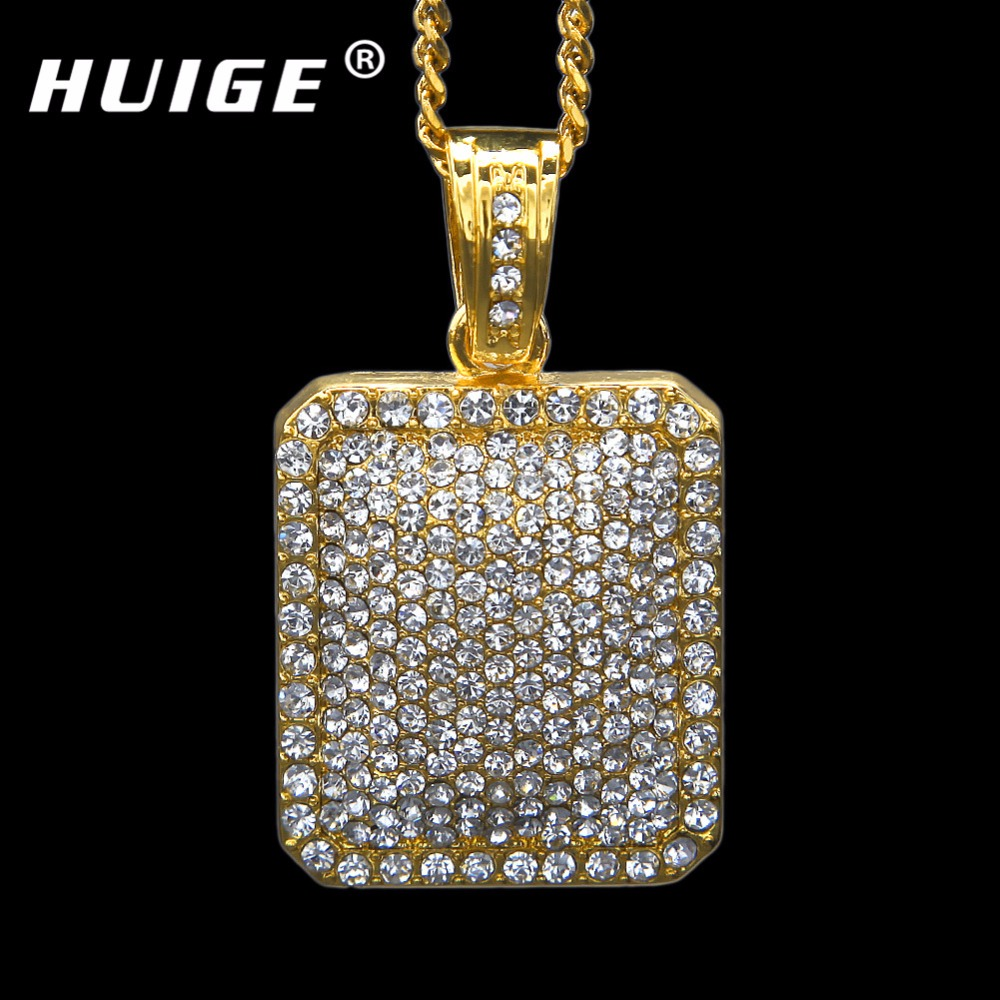 """Mens Full Iced Out Rhinestone Gold Silver Color Square Dog Tag Pendant 5mm*30'' /3mm*24"""" Cuban Chain Hip Hop Blingbling Necklace"""