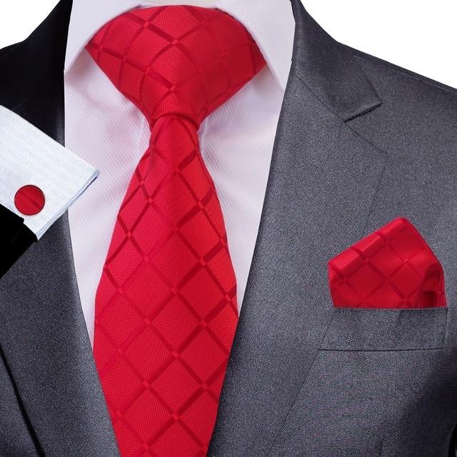 GUSLESON Quality Tie Set For Men 8cm Necktie Plaid Gravata Pocket Square Paisley Silk Tie Handkerchief Cufflinks Ties for Men