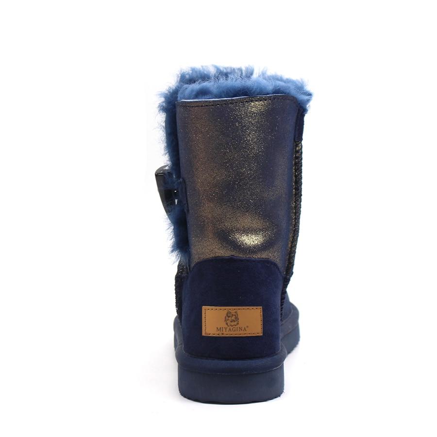 a8629ba9 Genuino Caliente Lana 2018 Botas Superior Mujeres Mujer Nieve Piel Beige  Cuero Real azul De Calidad Moda 100 Nueva Las Natural Invierno Zapato SCPqa