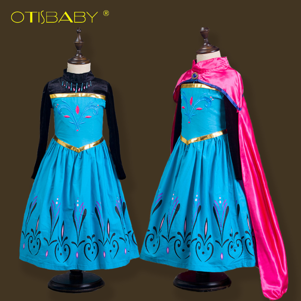 Brand Fancy Anna Elsa Party Dresses for Girls Kids Snow White Elegant Princess Dress Children Long Sleeve Girls Cosplay Costume children anna elsa princess birthday dresses cosplay party fancy costume with cape christmas dress child blue red clothes kids