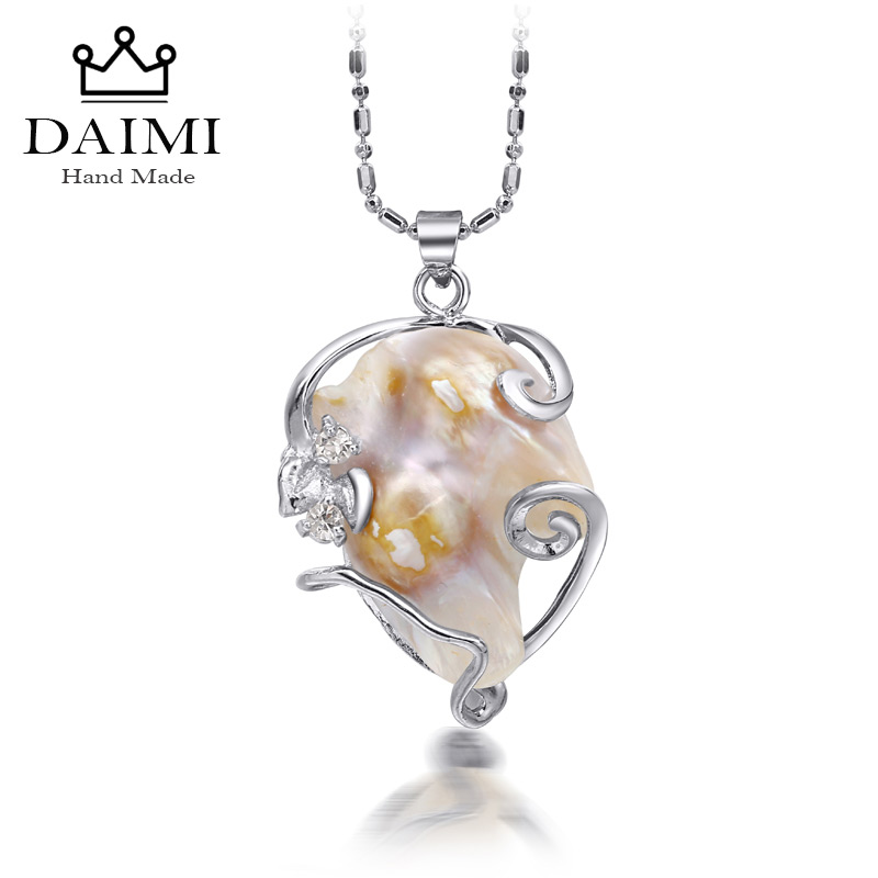 DAIMI 2018 New Huge Natural White Black Baroque Pearl Pendant Necklace For Women Casual Style Unique Pearl Jewelry fenlu women s fashionable punk style artificial pearl rivet necklace white black