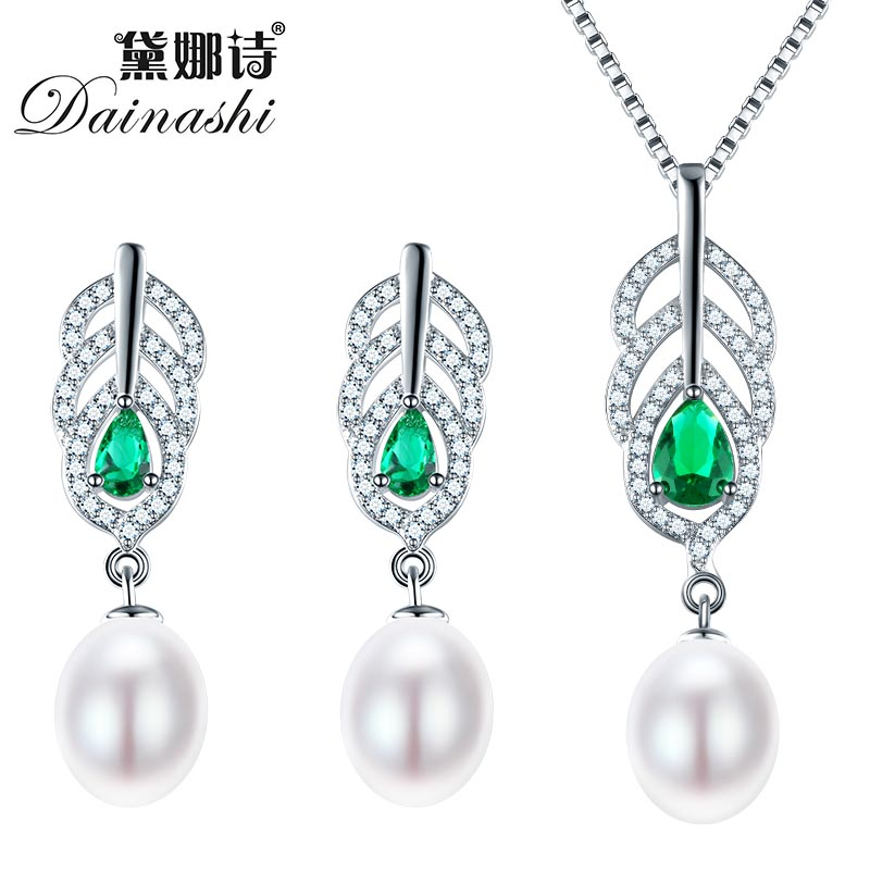 Dainashi Pearl Jewelry Sets 925 Silver Freshwater Pearl font b Pendant b font font b Necklace
