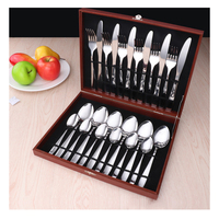 24 Pcs / set Dinnerware Set top Stainless Steel Dinner Knife and Fork Cutlery Set With Gift Box