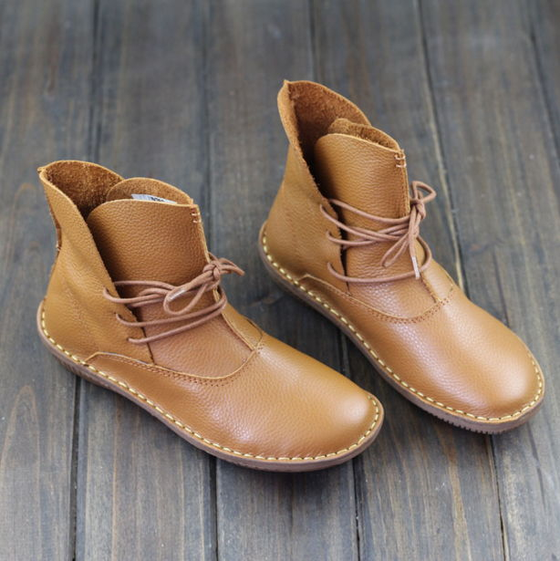 GYKZ 2018 New Handmade Women Boots Genuine Leather Ladies Shoes Spring/Autumn Lace up Ankle Boots Female Footwear front lace up casual ankle boots autumn vintage brown new booties flat genuine leather suede shoes round toe fall female fashion