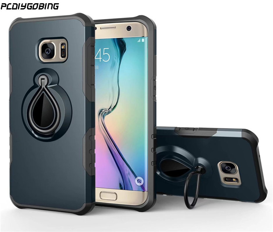 PCDIYGOBING For Samsung Galaxy S7 edge S8 Plus Note 8 Shockproof Cases Case fulll Finger Ring Holder Car Use Combo Cover