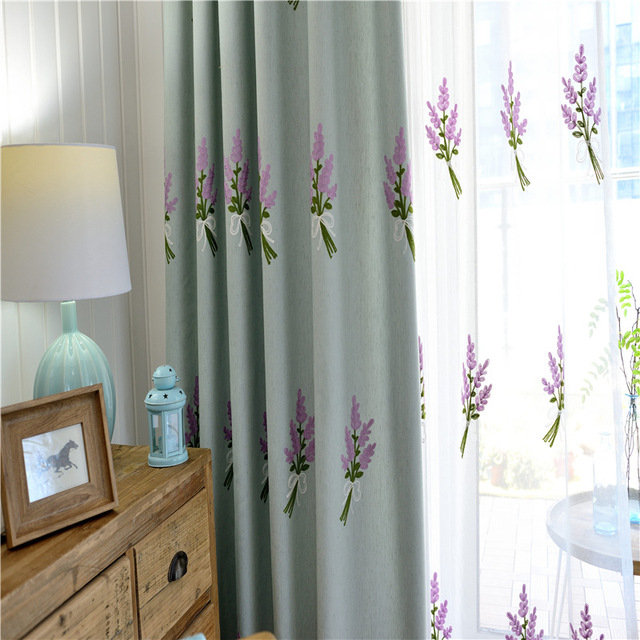 White blue yellow Lavender Embroidered Curtains and Tulles Living ...