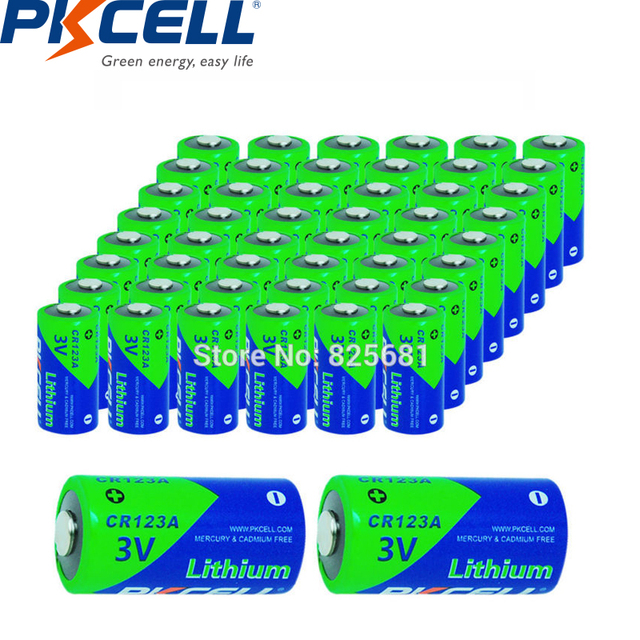50 個pkcell 3v CR123Aリチウム電池CR17345 1500mah 3 ボルト一次電池カメラ懐中電灯トーチ