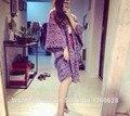 Роскошные cc марка женщин высокого класса негабаритных вязаный кардиган пончо мыс градиент фиолетовый кашемировый свитер пальто длинный Форме Крыла Летучей Мыши рукав