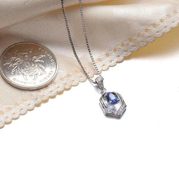 Идеальный дизайн GVBORI большая Сапфировая подвеска с бриллиантом+ цепочка из стерлингового серебра 925 пробы ожерелье ювелирные украшения Рождество