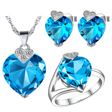 Plated NEW set 925 Sterling Silver custom made pendant ear ring sea heart set in Europe