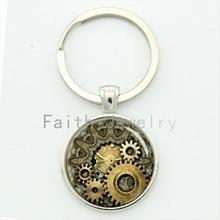Steam punk clock gear key chain vintage striped luxurious watch gears keychain steampunk movement mens jewelry gift KC609