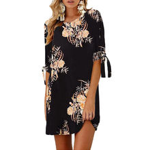(Ship from US) Designer Summer dresses for women Floral Print Bowknot Sleeves  Cocktail Mini Dress Casual Party Dress Vestidos Female Tops 998f28a2940a