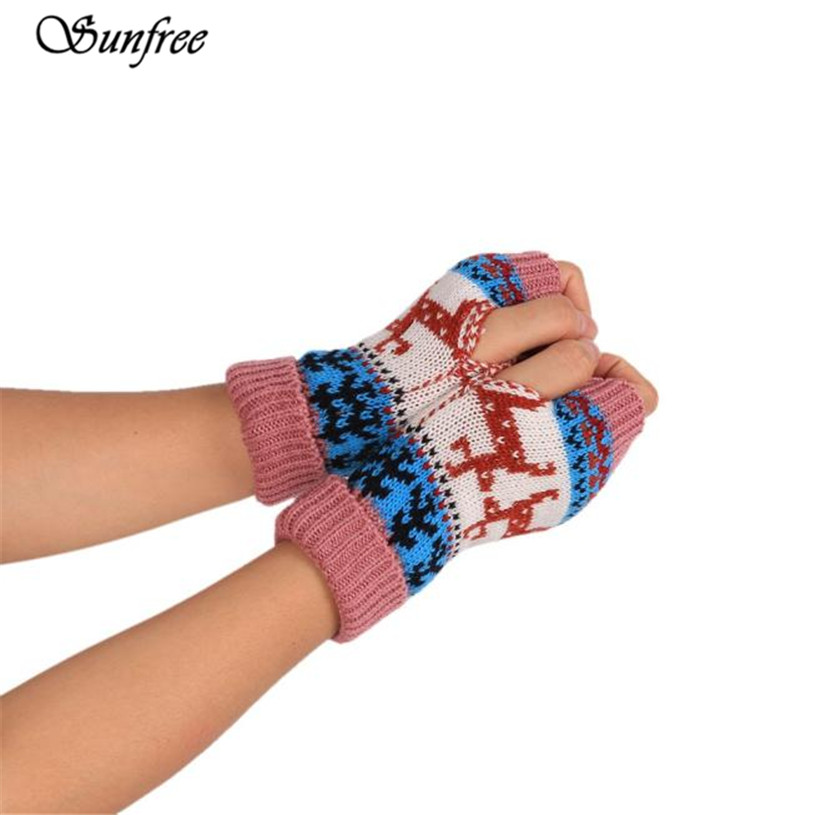Sunfree 2016 Hot Sale Fashion Knitted Arm Fingerless Winter Gloves Unisex Soft Warm Mitten Brand New High-Quality Nov 25