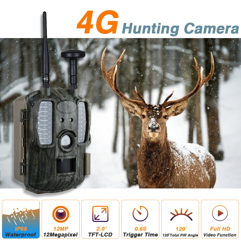 4G Digital Scouting Infrared Hunting Camera 12MP HD Video MMS GPRS GPS Night Vision Photo Trap Wildlife Trail Camera ht 002li wildlife hunting camera hd digital infrared scouting trail camera ir led video recorder 12mp