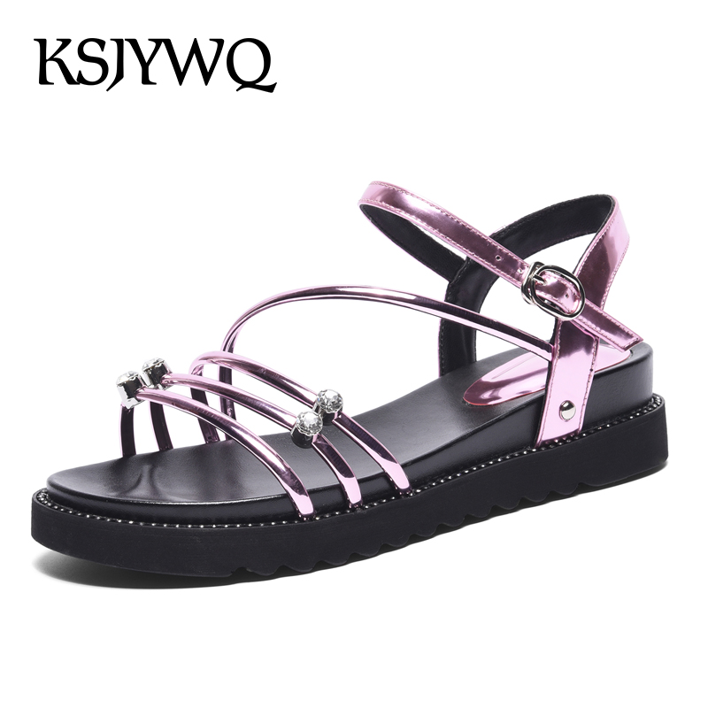 KSJYWQ Open-toe Women Platform Sandals 4 CM Heel Buckle Wedges Silver Thick Sole Shoes Summer Style Slingbacks Box Packing b610 shiningthrough summer woman sandals shoes women platform wedges heel fashion casual loop bling star thick sole women shoes