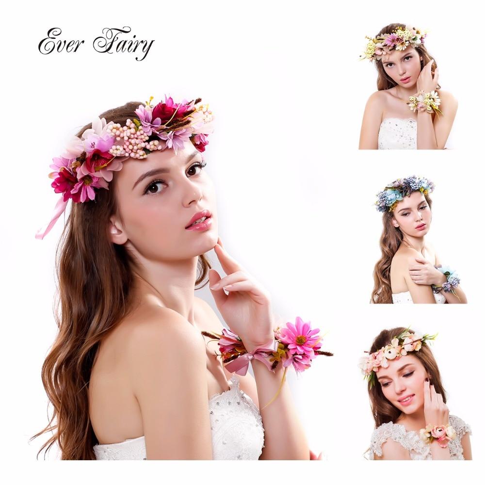 EVER FAIRY Sieviešu kāzu rozes ziedu galvas vainags ziedu vainags rokassprādze lentes regulējams roku darbs līgava matu aksesuāri