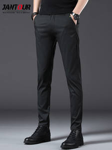 Pant Men Trousers Stretch Black Big-Size Business Straight Casual Full-Length Regular