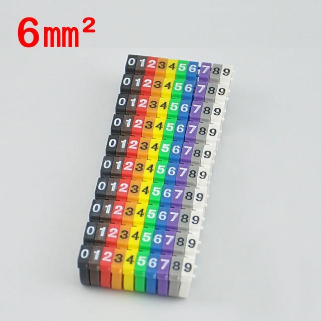 100pcs/Lot 0 9 0123456789 6mm2 Arabic Numerals M Type CAT 6 Clip ...
